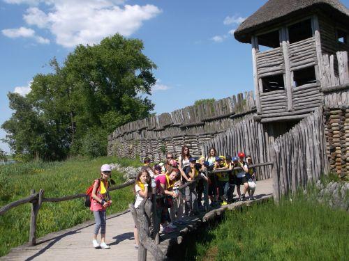 Wycieczka szkolna Szlak Piastowski, dzieci w Biskupinie