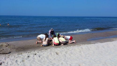 Wycieczka szkolna, dzieci nad morze