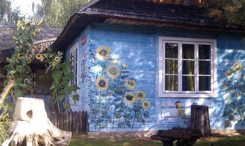 Wycieczka na wieś, niebieski dom